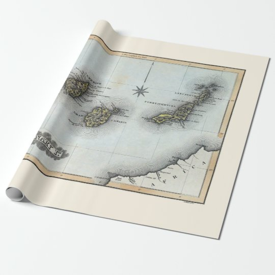 Vintage Map of the Canary Islands Wrapping Paper