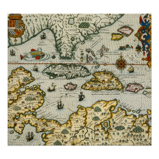 Vintage Map of The Caribbean (1594) Print