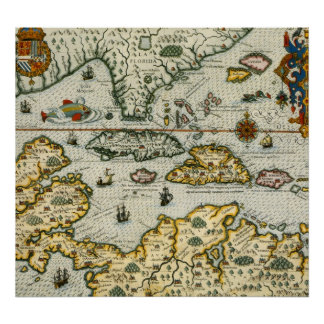 Vintage Map of The Caribbean 1594 Print