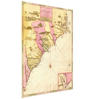 Vintage Map of The Carolinas (1683) Canvas Print