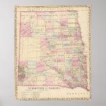 Vintage Map of The Dakota Territory (1880) Poster