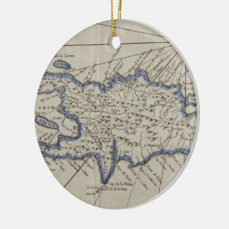 Vintage Map of The Dominican Republic (1750) Ceramic Ornament