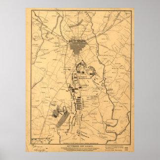 Vintage Map of The Gettysburg Battlefield (1863) 2 Poster