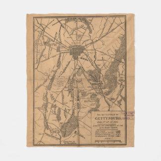 Vintage Map of The Gettysburg Battlefield (1863) 4 Fleece Blanket