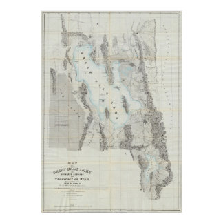 Vintage Map of The Great Salt Lake (1852) Poster