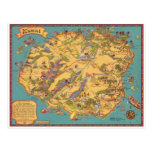 Vintage Map of the Island of Kauai Post Cards