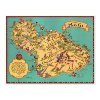 Vintage Map of the Island of Maui Postcard