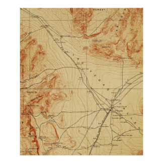 Vintage Map of The Las Vegas Valley NV (1907) Poster