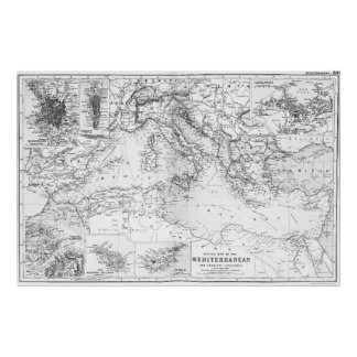 Vintage Map of The Mediterranean Sea (1891) BW Poster