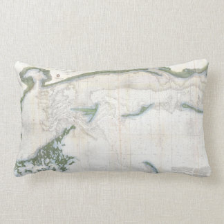 Vintage Map of The Mississippi Sound (1866) Lumbar Pillow
