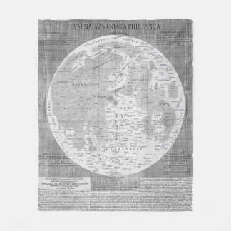 Vintage Map of The Moon (1645) Fleece Blanket
