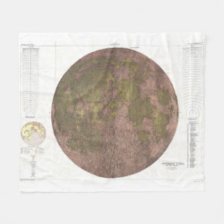 Vintage Map of The Moon (1961) 2 Fleece Blanket