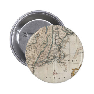 Vintage Map of The New England Coast (1747) 6 Cm Round Badge