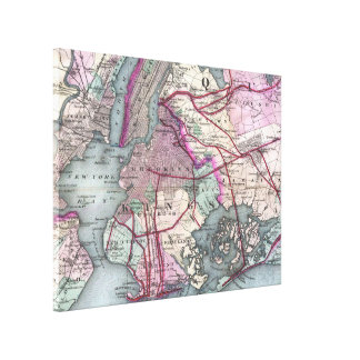 Vintage Map of The NYC Metro Area (1880) Canvas Print
