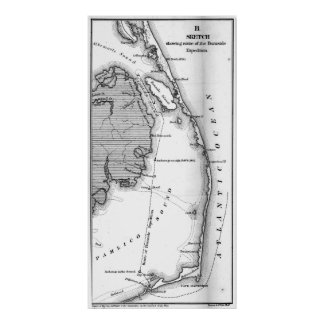Vintage Map of The Outer Banks (1862) BW Poster