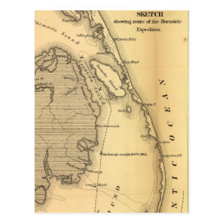 Vintage Map of The Outer Banks (1862) Postcard