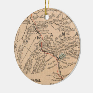 Vintage Map of The Panama Canal (1885) Ceramic Ornament