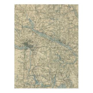 Vintage Map of The Richmond Virginia Area (1864) Postcard
