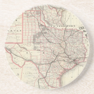 Vintage Map of The Texas Railroad System (1885) Coaster