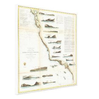 Vintage Map of The U.S. West Coast (1853) Canvas Print