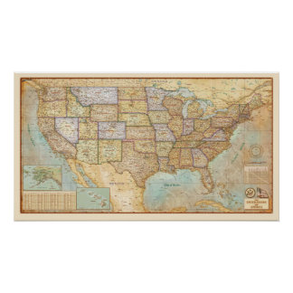 Vintage Map of the United States of America Poster