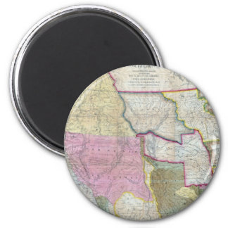 Vintage Map of The Western United States (1846) 6 Cm Round Magnet