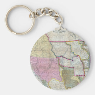 Vintage Map of The Western United States (1846) Basic Round Button Key Ring