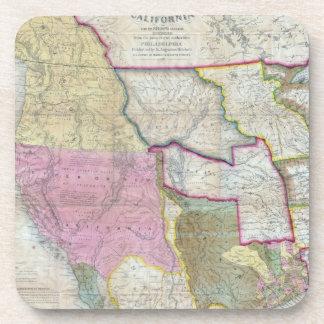 Vintage Map of The Western United States (1846) Beverage Coaster