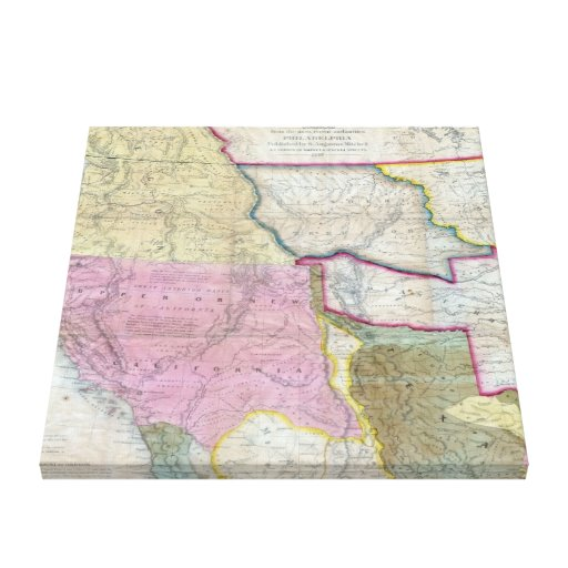 Vintage Map Of The Western United States (1846) Canvas Print