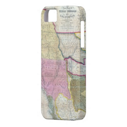 Vintage Map of The Western United States (1846) iPhone 5 Cases