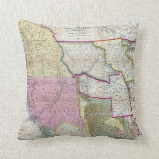 Vintage Map of The Western United States (1846) Pillows