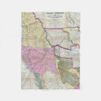Vintage Map of The Western United States (1846) Fleece Blanket