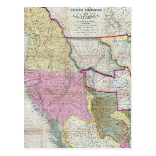 Vintage Map of The Western United States (1846) Post Card
