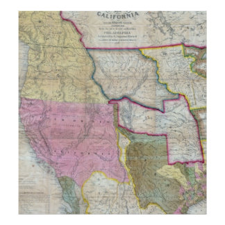 Vintage Map of The Western United States 1846 Poster