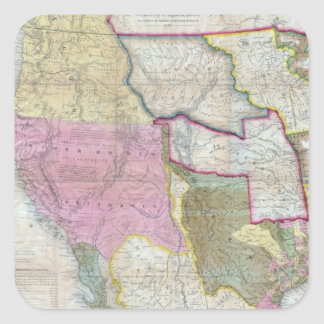 Vintage Map of The Western United States (1846) Square Stickers