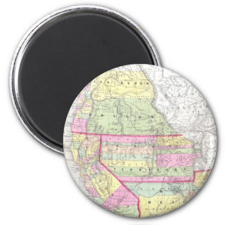 Vintage Map of The Western United States (1853) 6 Cm Round Magnet