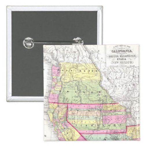 Vintage Map of The Western United States (1853) Button
