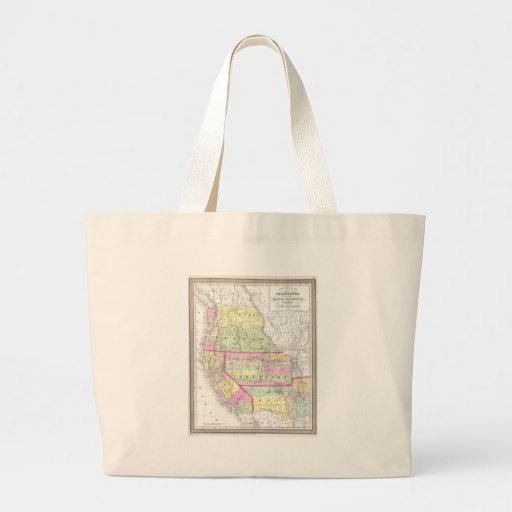 Vintage Map of The Western United States (1853) Canvas Bag