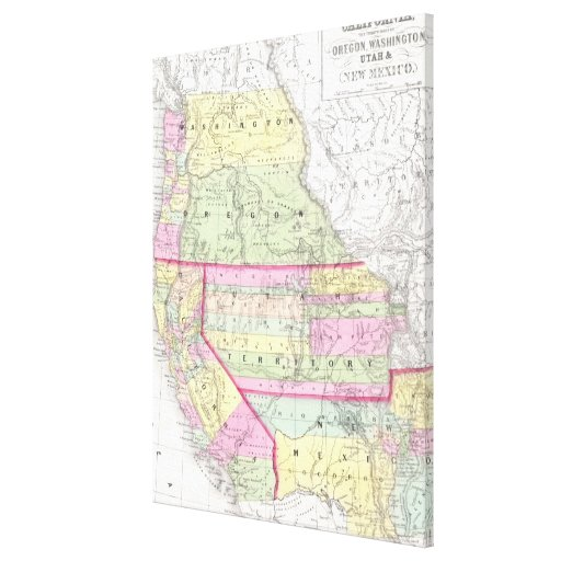 Vintage Map of The Western United States (1853) Canvas Prints