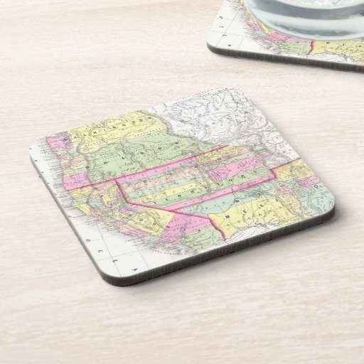 Vintage Map of The Western United States (1853) Coasters