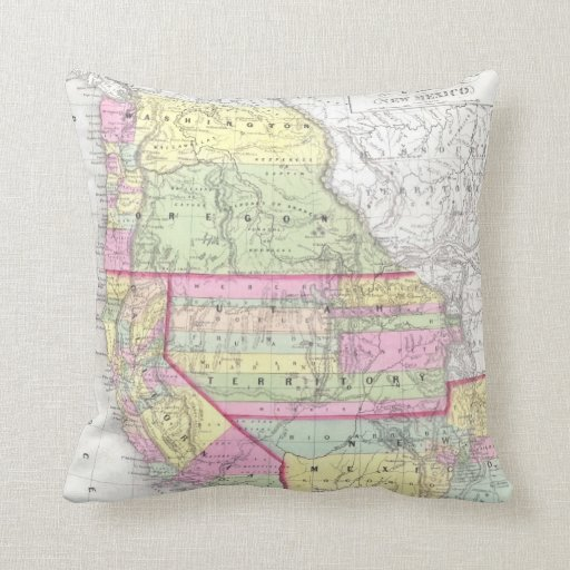 Vintage Map of The Western United States (1853) Throw Pillow