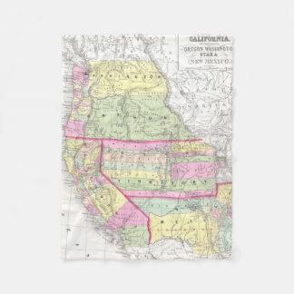 Vintage Map of The Western United States (1853) Fleece Blanket
