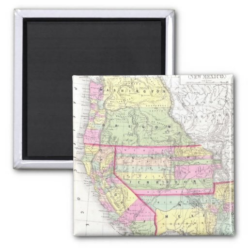 Vintage Map of The Western United States (1853) Refrigerator Magnet