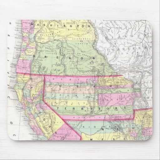 Vintage Map of The Western United States (1853) Mouse Pads