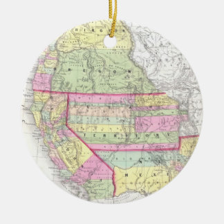 Vintage Map of The Western United States (1853) Round Ceramic Decoration