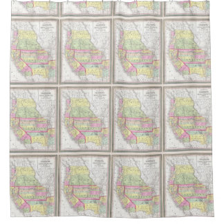 Vintage Map of The Western United States (1853) Shower Curtain