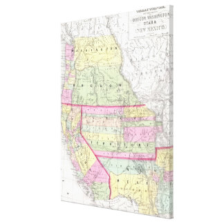 Vintage Map of The Western United States (1853) Stretched Canvas Print