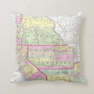 Vintage Map of The Western United States (1853) Throw Cushions