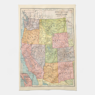Vintage map of the Western United States Tea Towel