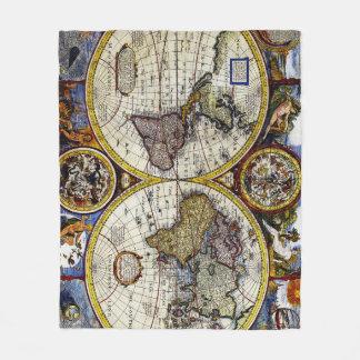 Vintage Map of The World (1626) - Stylized Fleece Blanket